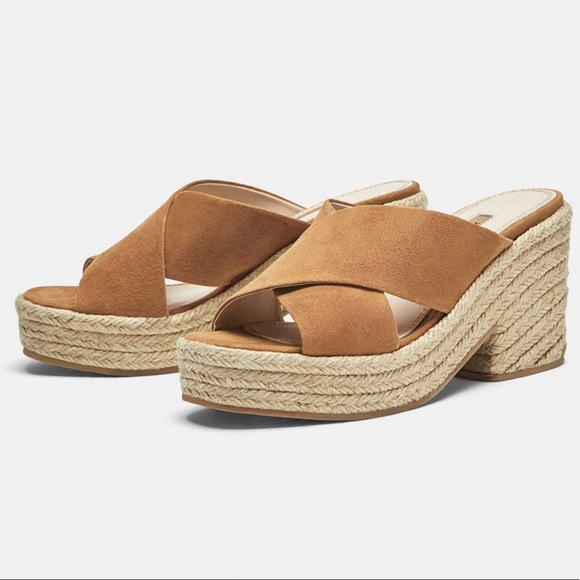 Zara tan suede leather crossover slides size 8